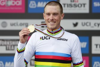 Australian Rohan Dennis enjoys the spoils of victory in the individual world time trial.