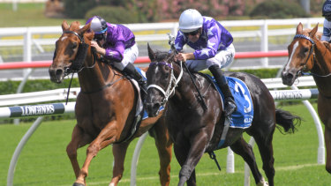 Son of a gun: Hugh Bowman rides Accession to victory in the Inglis Nursery.