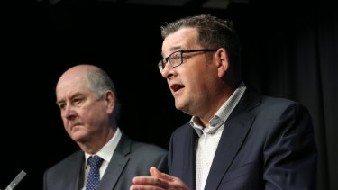 Victorian Premier Daniel Andrews, right, and Planning Minister Richard Wynne announce the $600 million cladding fund.