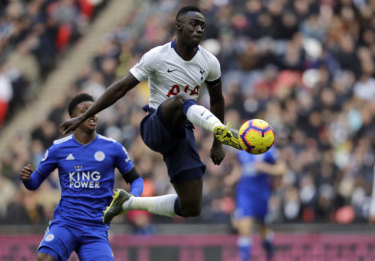 Tottenham Hotspur's Davinson Sanchez in action against Leicester City.