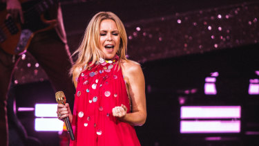 Dancing queen Kylie Minogue at the Myer Music Bowl this week.