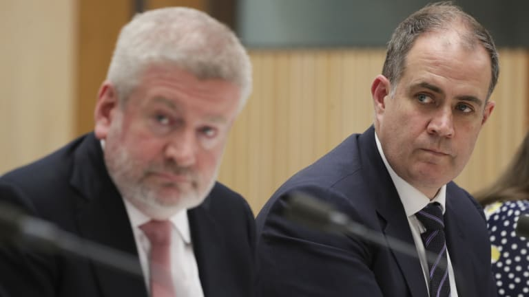 Funding wars: Communications Minister Mitch Fifield and acting ABC managing director David Anderson.