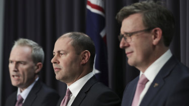 Mr Frydenberg with Population Minister Alan Tudge and Immigration Minister David Coleman following a meeting of the nation's treasurers on Friday.