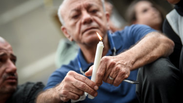 Aiia's father, Saeed Maasarwe, at a public vigil on Friday night in Melbourne.