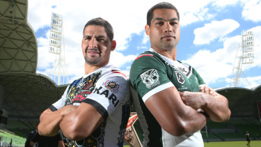Clash of cultures: Cody Walker (left) will lead the Indigenous All Stars against Adam Blair's Maori All Stars.