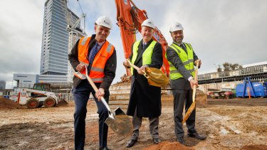 Mirvac kicks off construction of a $300 million luxury tower. From left to right: Simon Wilson from Development Victoria, Planning Minister Richard Wynne and Mirvac's Stuart Penklis.