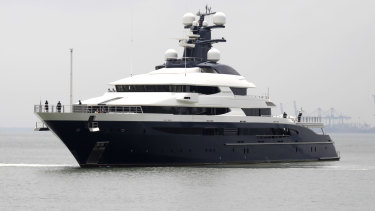 The super yacht Equanimity approaches the Boustead Cruise Centre in Port Klang, Selangor, Malaysia.