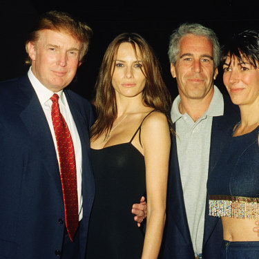 Jeffrey Epstein and Ghislaine Maxwell with Donald Trump and his future wife Melania Knauss at Trump's Mar-a-Lago club in Palm Beach, Florida in 2000.