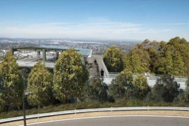 A concept image of the planned new viewing platform at Mt Coot-tha.