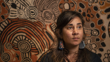 A new small exhibition at the AGNSW, curated by Coby Edgar, Art Gallery of NSW Aboriginal and Torres Strait Islander Art curator, is called The Purple House. Artwork by Marrapinti, Umari, Tjintjintjin. 20th October 2021, Photo: Wolter Peeters, The Sydney Morning Herald.