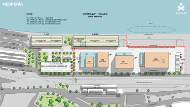 The site plan for the proposed studio at Victoria Quay which uses the existing C and D sheds.