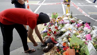 A makeshift memorial near the Masjid Al Noor mosque in Christchurch, New Zealand.