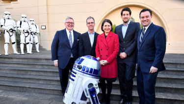 Much fanfare: (L-R) Arts Minister Don Harwin, Head of Industrial Light and Music Rob Bredow, NSW Premier Gladys Berejiklian, Industrial Light and Magic's Luke Hetherington and NSW Minister for Jobs Stuart Ayres at Fox Studios in Sydney. The NSW government announced Light & Magic, a Disney-owned visual effects company involved in the Star Wars films, will set up a studio in Sydney.