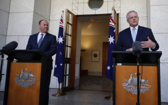 Scott Morrison and Josh Frydenberg announce a second fiscal support package on Sunday.