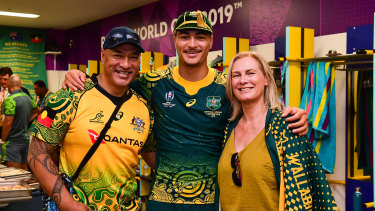 Jordan Petaia and his parents after Australia's 45-10 win over Uruguay.