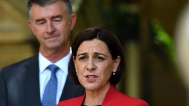 Queensland LNP leader Deb Frecklington (right) and deputy Tim Mander.