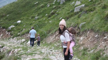 From: Aunt Matilda founder Carly Saeedi on a hike in Italy with her daughter Anya, then 4, husband Kamy Saeedi and son Zak, then 6.