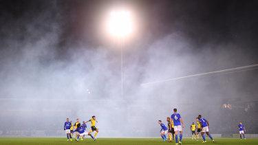 Fog envelops the round-of-16 match between Burton Albion and Leicester City at Pirelli Stadium in Burton-upon-Trent.