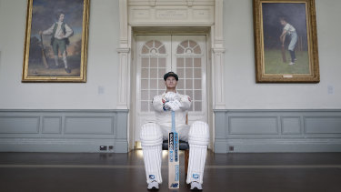 Cricketing royalty: Steve Smith poses in the Long Room at Lord's Cricket Ground.