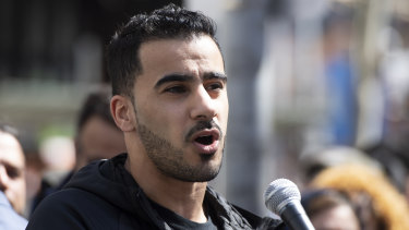 Footballer and refugee Hakeem al-Araibi speaks during a rally at the Victorian State Library in Melbourne.