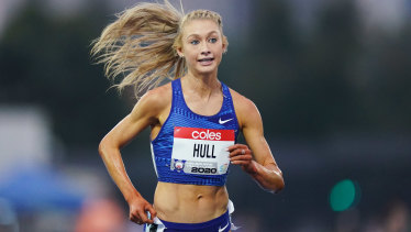 Jessica Hull won the women's 5000 metre event in Melbourne.