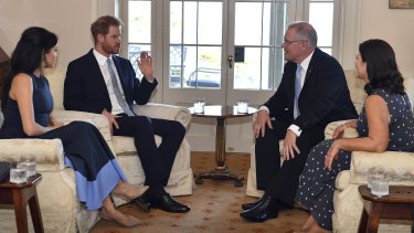 The Duke and Duchess of Sussex meet with Prime Minister Scott Morrison and his wife Jenny.