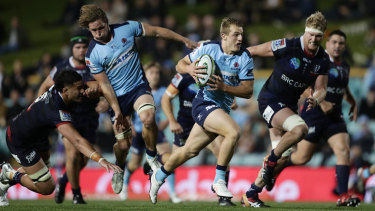 Joey Walton bags a try for the Waratahs in their win over the Rebels on Saturday night.