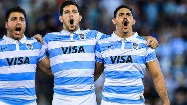 Pablo Matera (right) sings the national anthem ahead of the Pumas' clash with New Zealand.