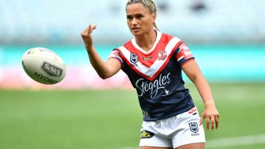 Nita Maynard warming up for the Roosters.