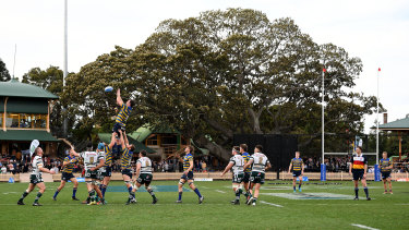 A shot from the 2018 Shute Shield final between Sydney University and Warringah at North Sydney Oval.