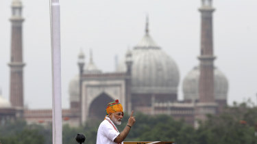 Modi gave the annual Independence Day address from the historic Red Fort in New Delhi as an unprecedented security lockdown kept people in Indian-administered Kashmir indoors for an eleventh day.
