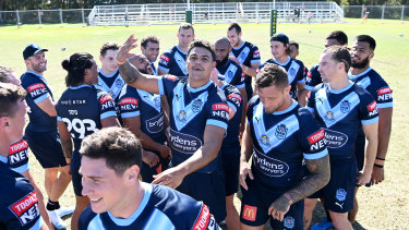 Latrell Mitchell and the Blues at the NSW captain's run on Tuesday.