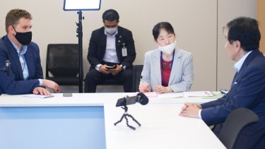 Yukio Edano, Japan's opposition leader, right, during an interview in Tokyo this week.