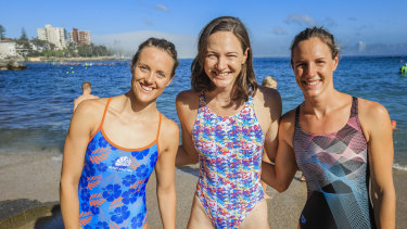 Ellie Cole, Cate Campbell and Bronte Campbell at the Sydney Morning Herald Cole Classic in 2019.