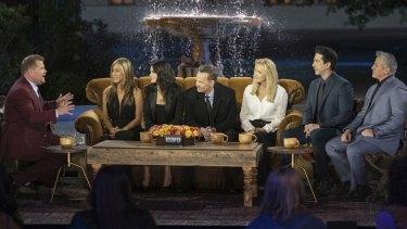 Friends, the reunion: James Corden with Jennifer Aniston, Courteney Cox, Matthew Perry, Lisa Kudrow, David Schwimmer and Matt LeBlanc.