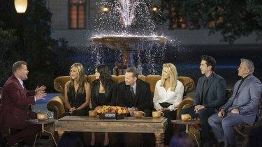 Friends: The Reunion ... James Corden with Jennifer Aniston, Courteney Cox, Matthew Perry, Lisa Kudrow, David Schwimmer and Matt LeBlanc.