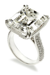 The 17.34 carat emerald-cut diamond ring set in platinum which sold for $575,000.