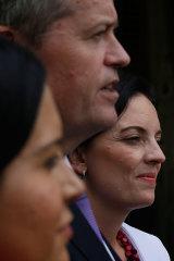 Labor leader Bill Shorten with Prue Car and Emma Husar in 2015.
