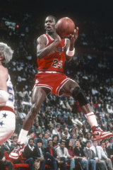 Michael Jordan in The Last Dance playing the Washington Bullets in 1985.