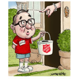 David Gonski, doorknocking as a schoolboy for the Red Shield Appeal.