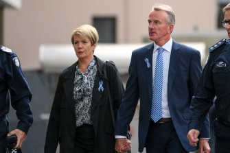 Constable Josh Prestney's parents, Belinda and Andrew, arrive at the County Court on Wednesday.
