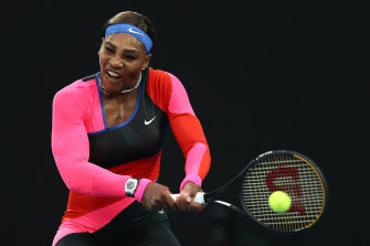 Serena Williams' power was on show against Halep.