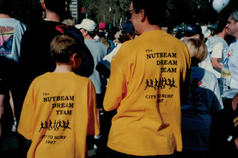 Ben and Don Nutbeam at the City2Surf in 1997.