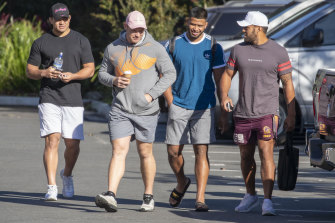 Brisbane Broncos forwards David Fifita, Matt Lodge, Payne Haas and Joe Ofahengaue.