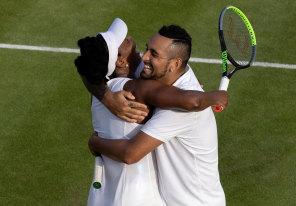Hug it up: Nick Kyrgios and Venus Williams.