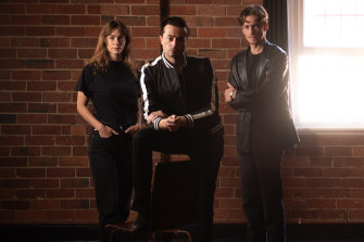 Actor/director Mark Diaco, centre, with actors Jessica Clarke, and Jacob Collins Levy who star in Burn This.