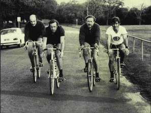 From left: Dr Geoff Pritchard, Dr Barry Pascoe, Dr Ferry Grunseit and Professor Fred Hollows riding in Centennial Park in 1972.