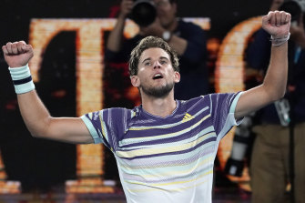 Dominic Thiem celebrates after winning his way through to the Australian Open final.