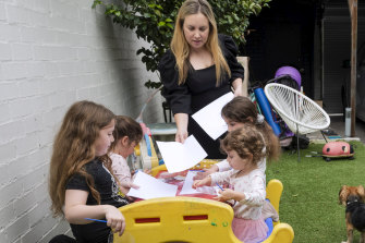 Candice Meisels at home with children Talya, 2, Abby, 5, Hannah, 7 and Chloe, 9.