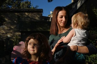 Veronica Milsom with daughters Zoe  and Lila.